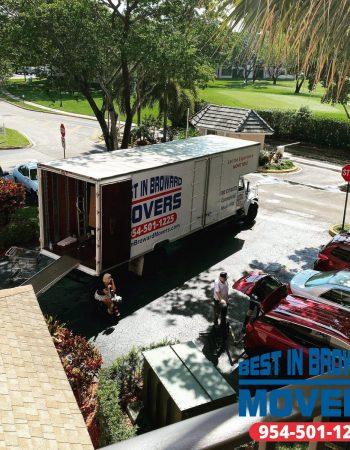 Best in Broward Movers trucks aeriel view